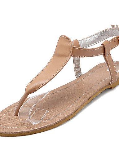LFNLYX Scarpe Donna-Sandali-Formale / Casual-Comoda / Con cinghia-Piatto-Finta pelle-Nero / Bianco / Beige White