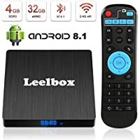 Android 8.1 TV box, Leelbox 2019 Newest Q4s 4 GB RAM 32 GB ROM RK3328 Quad Core 64 bit Smart TV Box, Support 4K Full HD 3D H.265 Wi-Fi 2.4GHz BT 4.1 USB 3.0 with Wireless Remote Control