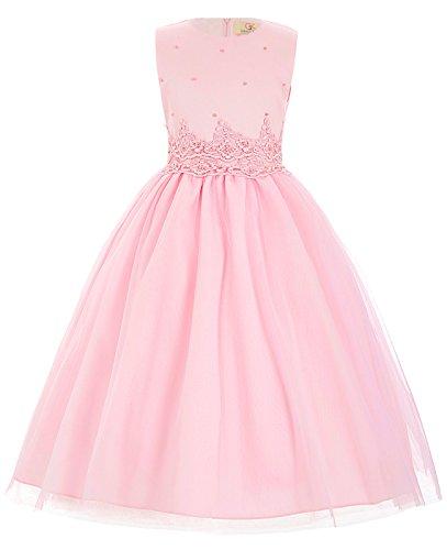 Prinzessin Kleid Kleid (GRACE KARIN Elegant rosa Prinzessin Blumenmaedchen Kleid 7-8 Jahre)