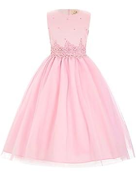 GRACE KARIN Niñas Vestido de Princesa sin Mangas Cuello Redondo de Dama de Honor Fiesta de Boda Bautizo Satén...