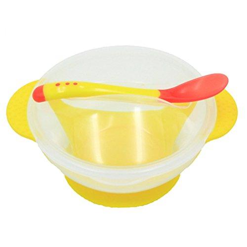 Ounona bébé empilable Aspiration Bol ventouse Ensemble de bols avec couvercle et cuillère Snap-In (Jaune)