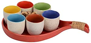 Pottery By Manjari Kanoi Ceramic Plate with Cups, 0.25 Litre, 7-Piece