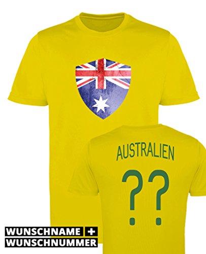 Comedy Shirts - Australien Trikot - Wappen: Groß - Wunsch - Herren Trikot - Gelb/Dunkelgrün Gr. M
