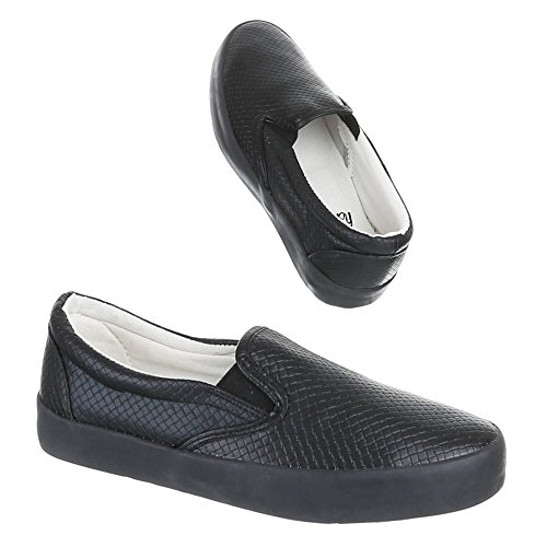 Damen Schuhe, IR-375, HALBSCHUHE SLIPPER Schwarz