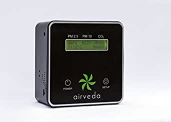 Airveda CO2, PM2.5, PM10, Temp, Humidity High Accuracy Smart Air Quality Monitor - Laser Sensor, Wi-Fi enabled, App-Enabled