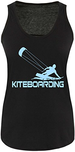 EZYshirt® Kiteboarding Damen Tanktop Schwarz/Hellblau