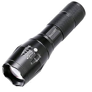 Best 007 Torche Lampe de Poche LED Super Lumineuse 2000LM, Zoomable et Rechargeable avec 5 Modes
