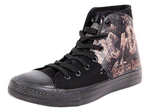 Chaussures Original AC/DC - Rock Or Bust - Noire - F.B.I. Basquettes Basket Noir AC DC sous Licence ACDC Unisex idée Cadeau Noel Anniversaire Fille garçon Homme Femme Fashion Moderne Look Sportif