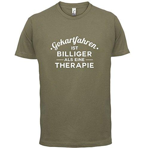 Gokartfahren ist billiger als eine Therapie - Herren T-Shirt - 13 Farben Khaki