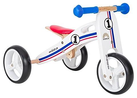 BIKESTAR® Premium Mini Kinderlaufrad (Kombination 2 und 3 Rad) für freche Zwerge ab ca. 18 Monaten ★ 2 in 1 Natur Holz Edition ★ Weiß Blau Rotes Rallye Design