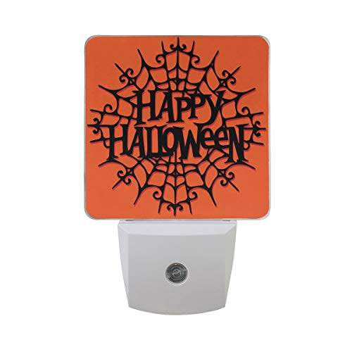 DFISKK Nachtlicht Set of 2 Happy Halloween Calligraphy Letter Word in Black Spider Web On Orange Auto Sensor LED Dusk to Dawn Night Light Plug in Indoor for Adults (Halloween Leuchten Spider Web)