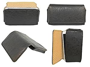 Generic Premium Leather Fabric Hand Pouch for - LG Optimus Net P690 - BLACK - HDPBK43#1043DR