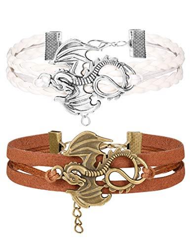 Finrezio 2 Stück Lederarmband Für Frauen Männer Drache Armband Set Einstellbar Größe