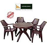 Kisan Elegant Round Dining Table Set 1+4 (Brown) by Homegenic'