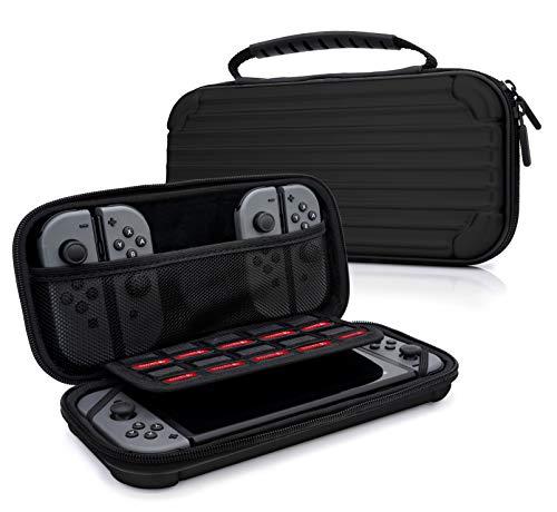 sche Aluminium Design Case für Nintendo Switch, Joy Con Controller & min. 10 NDS Spiele - Tragetasche Hardcase Schutzhülle in Schwarz ()
