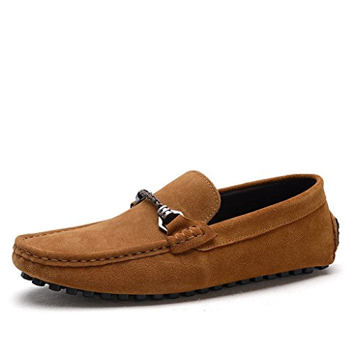 Minitoo Men's Confort Taille Loafers Penny Chaussures bateau en daim Marron - marron