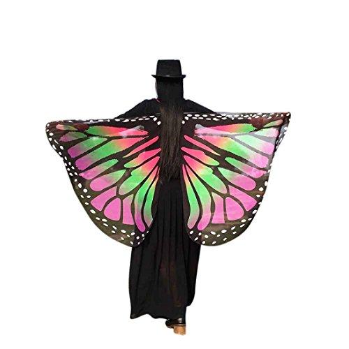 Chiffon Umschlagtücher, ESAILQ Damen Schöner Chiffon Schmetterling Flügel schal überwurf Fairy Damen Nymphe Pixie Kostüm Zubehör 147 x 70CM (Rosa) (1860 Kostüm Kleider)