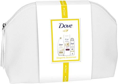 Dove 3er Geschenkset mit Kulturtasche (Duschgel Seidig Zart 250 ml + Deospray Invisible Dry 150 ml + Body Lotion Intensiv 400 ml), 796 g