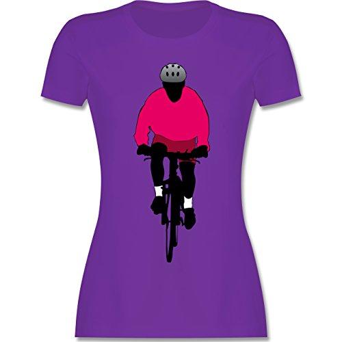 Radsport - Mountainbike Fahrrad - tailliertes Premium T-Shirt mit Rundhalsausschnitt für Damen Lila