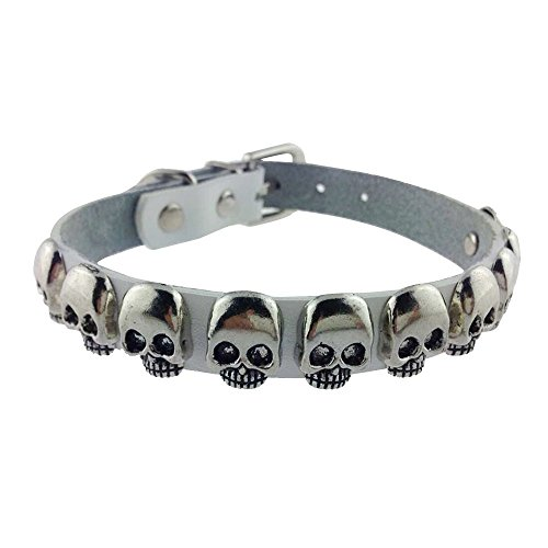 SLZZ Collar de piel sintética para perro con calavera fresca y collar ajustable para perros pequeños y medianos