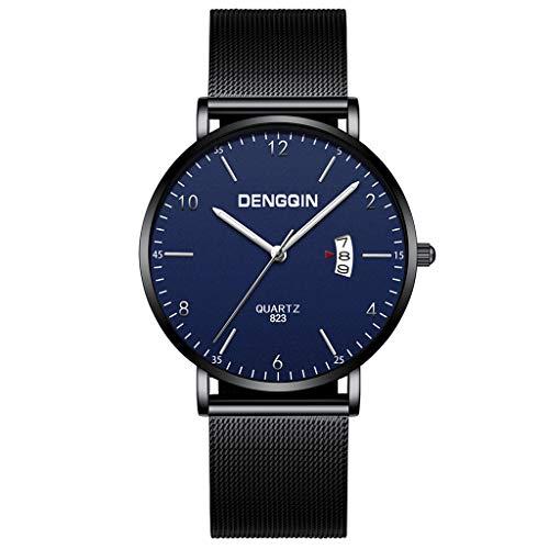Doingshop Herrenuhr Analoges Luxusquarz Trägt EIN Militärisches Edelstahlgewebe Mit Schwarz Blauer Uhr