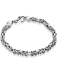 MATERIA Königskette 925 Silber Herren Armband 3mm diamantiert rhodiniert deutsche Fertigung #SA-36