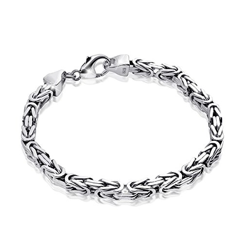 MATERIA Königskette 925 Silber Herren Armband 3mm diamantiert rhodiniert deutsche Fertigung #SA-36, Länge:21 cm