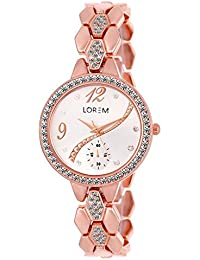 The Shopoholic Casual Analog Diamond Coated White Dial With Diamond Coated Light Pink Steel Belt Watches For Women