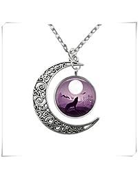 JUN Wolf Howling at Full Moon Anhänger, Crescent Moon Antik Halskette, Pure Handgefertigt
