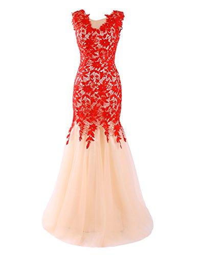 Dresstells, Robe de soirée Robe de cérémonie forme sirène/trompette en tulle dentelle Rouge