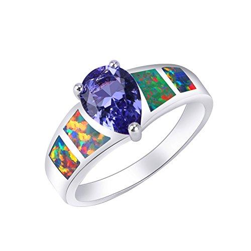 KELITCH Herz Kristall Feuer Synthetisch Opal Weben Statement Ring Mode Damen Geschenk (Violet, 6) Synthetische Opal Verlobungsring