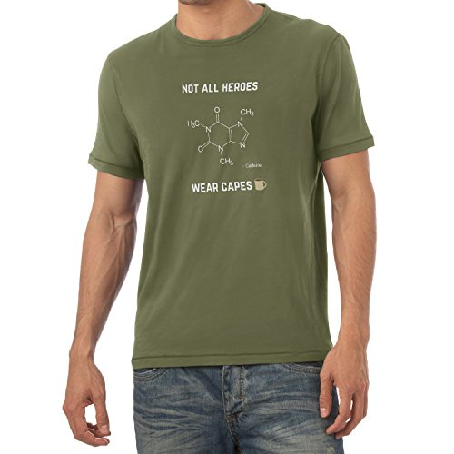 NERDO - Koffein - Not all Heroes wear Capes - Herren T-Shirt Oliv