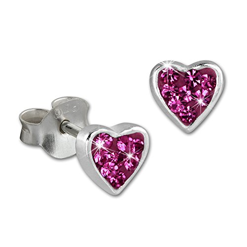 SilberDream Earrings Heart with Pink Children's Stud Earrings 925Sterling Silver SDO009P