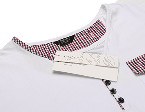 Coofandy Herren Langarmshirt 2-in-1 Oberteile 3-Verkürze Knopfleiste Tief Henley V-Ausschnitt Epaulets Einfarbig Sweatshirt Weiß