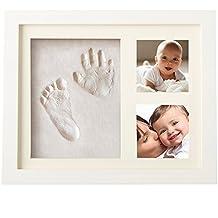 Leisial Frame Madera Marco para Huella del Bebé de Mano y Pie con 2 fotos Plastilina Regalo Recuerdo del Bebé Marco Triple para Foto, Color Blanco Plastilina