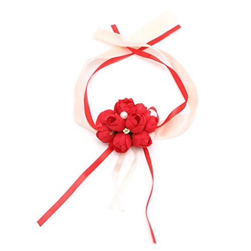 Qisuw Wunderschöne Handgelenk Corsage Armband Brautjungfer Schwestern Hand Blumen Hochzeit Party Dekoration DIY Basteln Valentinstag Muttertag Freundin Geburtstag Art Deco Rot (Handgelenk Corsage Diy)