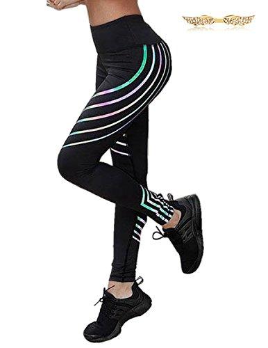 BYD Donna Pantaloni Vita Alta A Righe Elasticizzati Allenamento Leggings Attillati Sportivo da Yoga Pilates Palestra Fitness Slim Fit