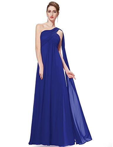 Ever Pretty Damen Lange One Shoulder Chiffon Abendkleider Festkleider 09816 Blau