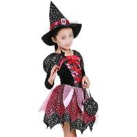 BESTOYARD Ropa de Bruja de Halloween Vestido de Disfraces Capa de Fiesta con Trajes de Sombrero