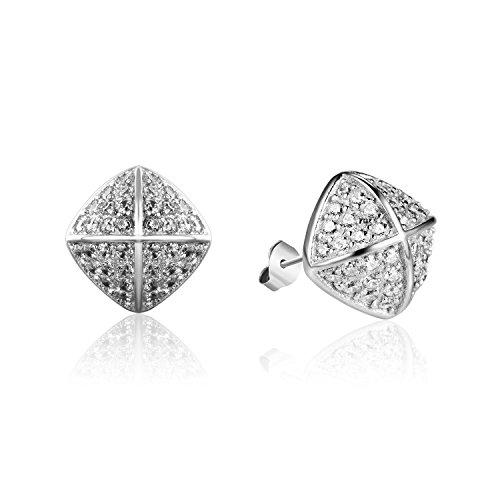Silberfarbenes 925Sterling Silber Inlay Cubic Zirkonia Kreuz Schild Muster Quadratisch Ohrringe Schmuck