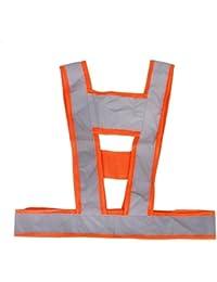 Magideal Alta Visibilidad Seguridad Chaleco Gris Bandas Reflectantes De Color Naranja