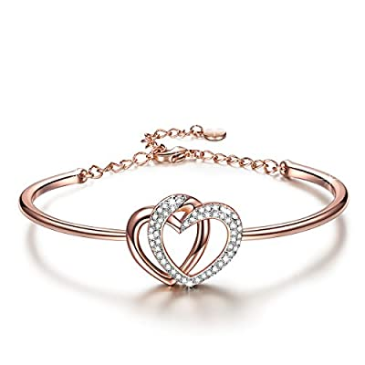 "J.NINA ""Guardian of Love"" made with SWAROVSKI® crystals, Rose-Gold Plated Heart Women Bangle Bracelet. Women Jewellery Gifts"