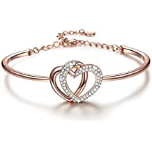"""J.NINA """"Guardian del Amor"""" fabricados con cristales SWAROVSKI®, Rosa-Oro Plated Corazón Pulseras Mujer. Regalos de la joyería de las mujeres"""