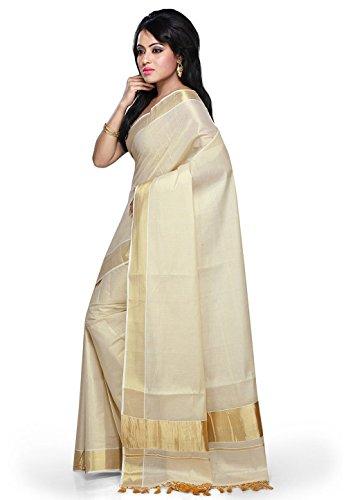 fashionkiosks Women's Cotton Saree With Blouse Piece (4005_Cream)