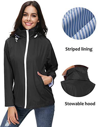 ZHENWEI Regenjacke Damen Wasserdicht Outdoorjacke Regenmantel Schwarz Softshelljacken Walk Kapuzenjacke Streetwear - 2