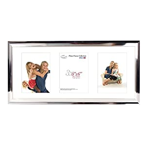 Inov8 British Made Traditional Picture/Photo Frame, Scoop Chrome Triple App, 8x6 Inch (20x15cm) x3 Portrait Aperture, 20.32 x 15.24 x 3 cm