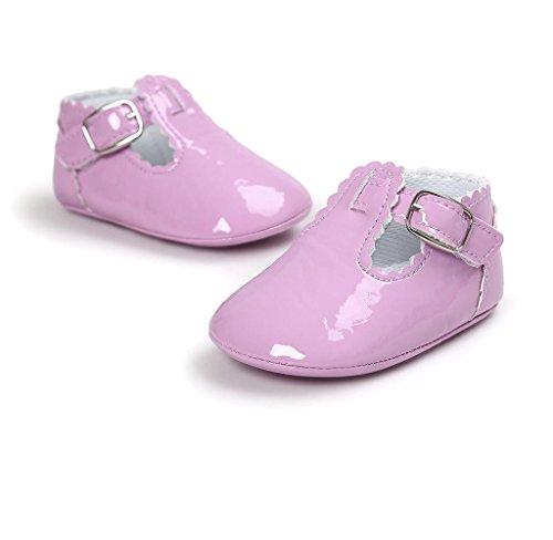 Neugeborene Baby Leder Kleinkind Schuhe Covermason Rutschfest Weiche Sohle Krippe Schuhe Lila