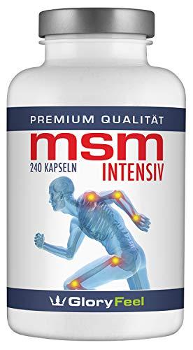 MSM Kapseln Hochdosiert 1.600 mg | 240 Vegane Kapseln MSM-Intensiv | 99,9% Reines Organischer Schwefel-Pulver (Methylsulfonylmethan) + Vitamin C + Selen