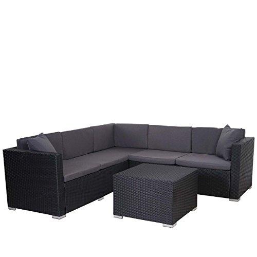 Mendler Poly-Rattan Sofa-Garnitur ROM Basic, Sitzgruppe Lounge-Set, Stahl ~ anthrazit, Kissen...