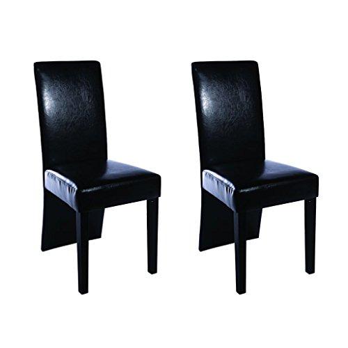 vidaXL 2x Chaises de Salle à Manger Cuir Artificiel Noir Chaise de Cuisine